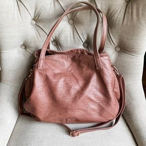 Colab washed pink vegan leather triple tote